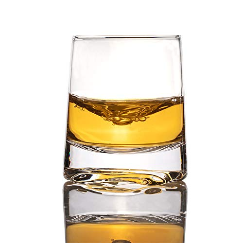 Zfitei Ripple Whiskey Glasses Set Of 2Hand Blown Crystal Glasses8oz Thick Weighted Bottom Rocks GlassPerfect For Old Fashioned CocktailBourbonScotch 0 4