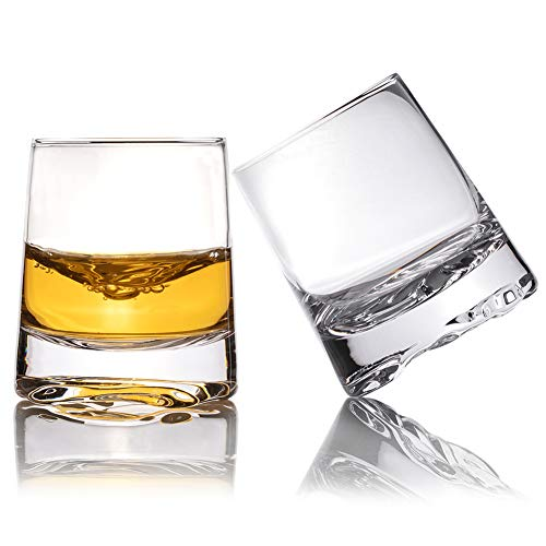 Zfitei Ripple Whiskey Glasses Set Of 2Hand Blown Crystal Glasses8oz Thick Weighted Bottom Rocks GlassPerfect For Old Fashioned CocktailBourbonScotch 0