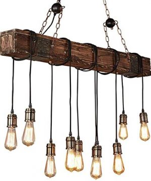 10 Lights Chandelier Wooden Retro Rustic Pendant Light Industrial Suspension Light Line Can Be Adjusted Freely Distressed Wood Chandelier For Dining Table Vintage Kitchen Bar Island Billiard 0 0 300x360