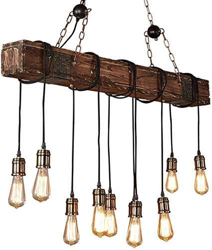 10 Lights Chandelier Wooden Retro Rustic Pendant Light Industrial Suspension Light Line Can Be Adjusted Freely Distressed Wood Chandelier For Dining Table Vintage Kitchen Bar Island Billiard 0 0