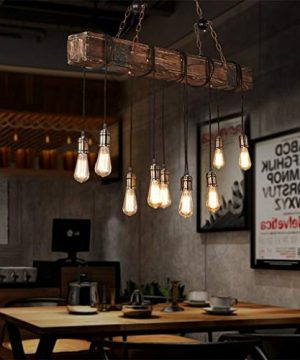 10 Lights Chandelier Wooden Retro Rustic Pendant Light Industrial Suspension Light Line Can Be Adjusted Freely Distressed Wood Chandelier For Dining Table Vintage Kitchen Bar Island Billiard 0 300x360