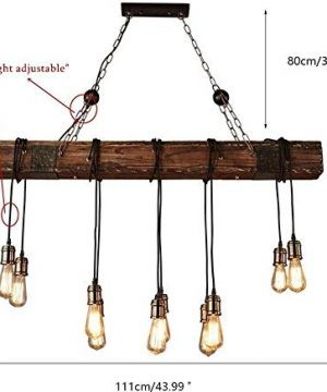 10 Lights Chandelier Wooden Retro Rustic Pendant Light Industrial Suspension Light Line Can Be Adjusted Freely Distressed Wood Chandelier For Dining Table Vintage Kitchen Bar Island Billiard 0 5 300x360
