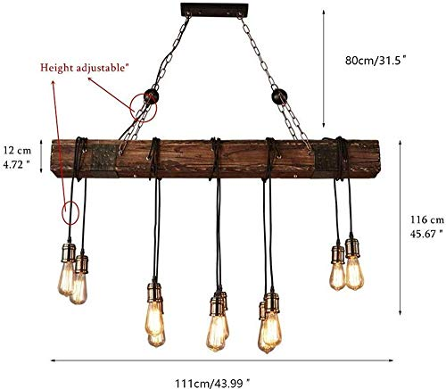 10 Lights Chandelier Wooden Retro Rustic Pendant Light Industrial Suspension Light Line Can Be Adjusted Freely Distressed Wood Chandelier For Dining Table Vintage Kitchen Bar Island Billiard 0 5