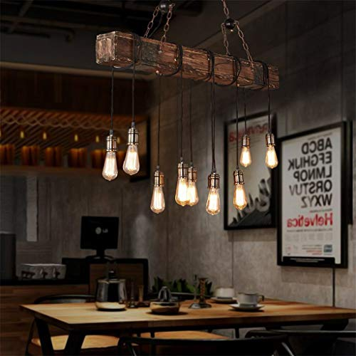 10 Lights Chandelier Wooden Retro Rustic Pendant Light Industrial Suspension Light Line Can Be Adjusted Freely Distressed Wood Chandelier For Dining Table Vintage Kitchen Bar Island Billiard 0