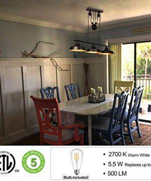 3 Light Pulley Pendant Lighting Adjustable Kitchen Island Lights Farmhouse Vintage Ceiling Light Fixtures Oil Rubbed BronzeBronze ETL Listed 0 0 300x360