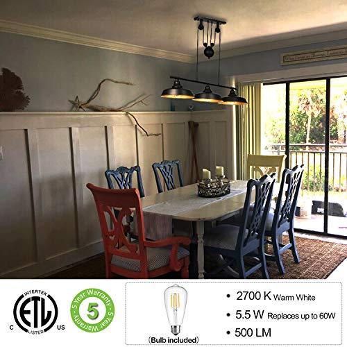 3 Light Pulley Pendant Lighting Adjustable Kitchen Island Lights Farmhouse Vintage Ceiling Light Fixtures Oil Rubbed BronzeBronze ETL Listed 0 0