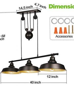 3 Light Pulley Pendant Lighting Adjustable Kitchen Island Lights Farmhouse Vintage Ceiling Light Fixtures Oil Rubbed BronzeBronze ETL Listed 0 2 300x360