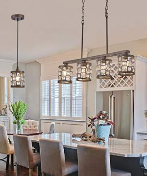 4 Light Farmhouse Kitchen Light Fixtures Rustic Chandelier With Oil Rubbed Bronze Finish Island Pendant Lighting For Dining Room And Bar 0 0 300x360