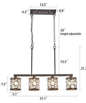 4 Light Farmhouse Kitchen Light Fixtures Rustic Chandelier With Oil Rubbed Bronze Finish Island Pendant Lighting For Dining Room And Bar 0 1 300x360