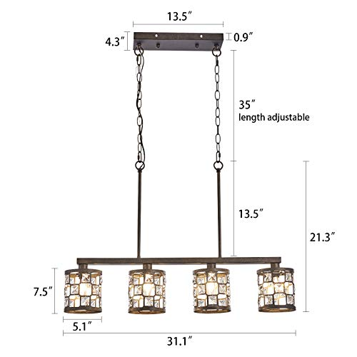 4 Light Farmhouse Kitchen Light Fixtures Rustic Chandelier With Oil Rubbed Bronze Finish Island Pendant Lighting For Dining Room And Bar 0 1