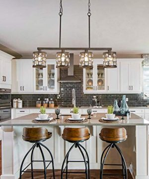 4 Light Farmhouse Kitchen Light Fixtures Rustic Chandelier With Oil Rubbed Bronze Finish Island Pendant Lighting For Dining Room And Bar 0 2 300x360