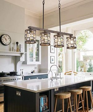 4 Light Farmhouse Kitchen Light Fixtures Rustic Chandelier With Oil Rubbed Bronze Finish Island Pendant Lighting For Dining Room And Bar 0 3 300x360