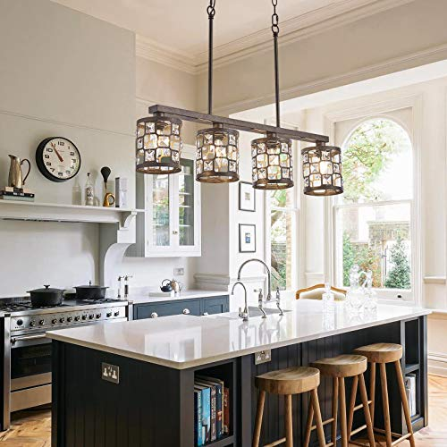 4 Light Farmhouse Kitchen Light Fixtures Rustic Chandelier With Oil Rubbed Bronze Finish Island Pendant Lighting For Dining Room And Bar 0 3
