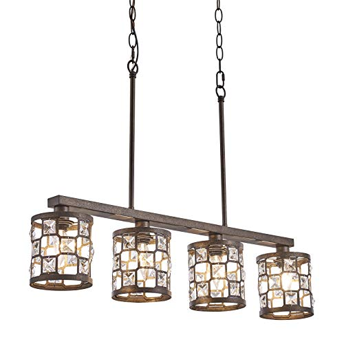 4 Light Farmhouse Kitchen Light Fixtures Rustic Chandelier With Oil Rubbed Bronze Finish Island Pendant Lighting For Dining Room And Bar 0
