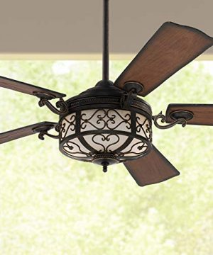 54 Hermitage Rustic Outdoor Ceiling Fan With Light LED Dimmable Remote Control Golden Forged Reversible Distressed Walnut Blades Damp Rated For Patio Porch Casa Vieja 0 300x360
