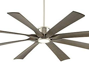 70 The Defender Modern Outdoor Ceiling Fan With Light LED Dimmable Remote Control Brushed Nickel Light Wood Blades Damp Rated For Patio Porch Possini Euro Design 0 0 300x210