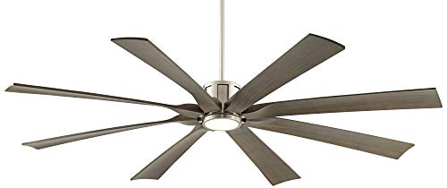 70 The Defender Modern Outdoor Ceiling Fan With Light LED Dimmable Remote Control Brushed Nickel Light Wood Blades Damp Rated For Patio Porch Possini Euro Design 0 0