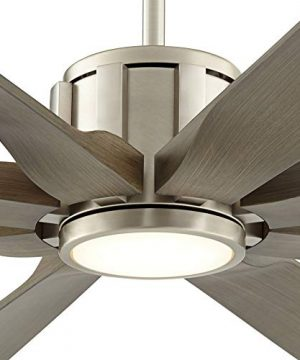 70 The Defender Modern Outdoor Ceiling Fan With Light LED Dimmable Remote Control Brushed Nickel Light Wood Blades Damp Rated For Patio Porch Possini Euro Design 0 1 300x360