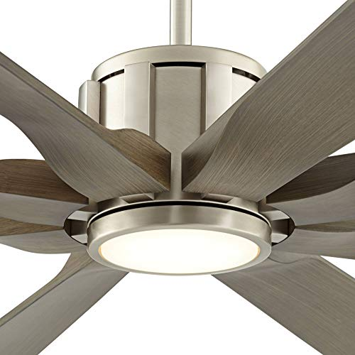 70 The Defender Modern Outdoor Ceiling Fan With Light LED Dimmable Remote Control Brushed Nickel Light Wood Blades Damp Rated For Patio Porch Possini Euro Design 0 1