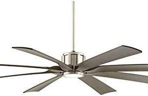 70 The Defender Modern Outdoor Ceiling Fan With Light LED Dimmable Remote Control Brushed Nickel Light Wood Blades Damp Rated For Patio Porch Possini Euro Design 0 3 300x194