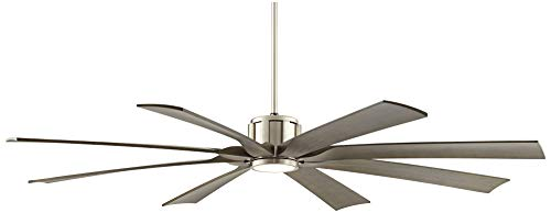 70 The Defender Modern Outdoor Ceiling Fan With Light LED Dimmable Remote Control Brushed Nickel Light Wood Blades Damp Rated For Patio Porch Possini Euro Design 0 3