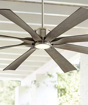 70 The Defender Modern Outdoor Ceiling Fan With Light LED Dimmable Remote Control Brushed Nickel Light Wood Blades Damp Rated For Patio Porch Possini Euro Design 0 300x360