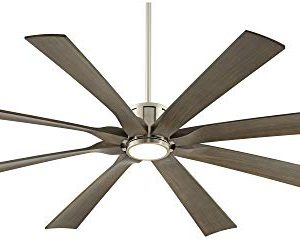 70 The Defender Modern Outdoor Ceiling Fan With Light LED Dimmable Remote Control Brushed Nickel Light Wood Blades Damp Rated For Patio Porch Possini Euro Design 0 4 300x239