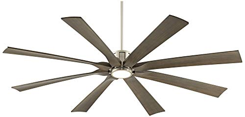 70 The Defender Modern Outdoor Ceiling Fan With Light LED Dimmable Remote Control Brushed Nickel Light Wood Blades Damp Rated For Patio Porch Possini Euro Design 0 4