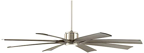 70 The Defender Modern Outdoor Ceiling Fan With Light LED Dimmable Remote Control Brushed Nickel Light Wood Blades Damp Rated For Patio Porch Possini Euro Design 0 5