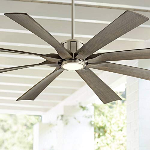 70 The Defender Modern Outdoor Ceiling Fan With Light LED Dimmable Remote Control Brushed Nickel Light Wood Blades Damp Rated For Patio Porch Possini Euro Design 0