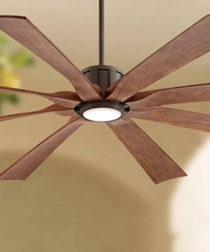 70 The Defender Outdoor Ceiling Fan With Light LED Dimmable Remote Control Oil Rubbed Bronze Koa Blades Damp Rated For Patio Porch Possini Euro Design 0 300x360