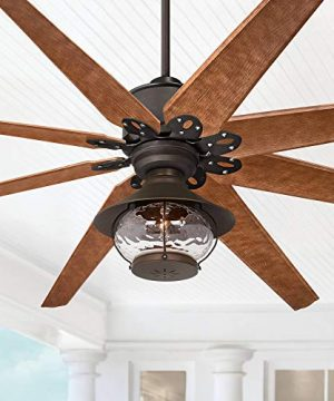 72 Predator Outdoor Ceiling Fan With Light LED English Bronze Cherry Blades Hammered Glass Lantern Damp Rated For Patio Porch Casa Vieja 0 300x360