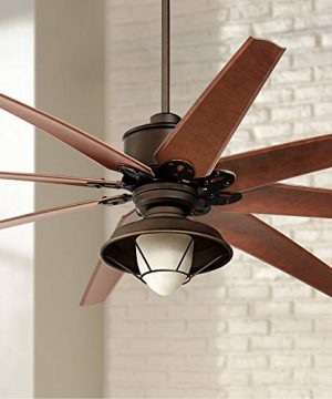 72 Predator Outdoor Ceiling Fan With Light LED Remote Control English Bronze Cherry Blades Hooded Caged Frosted Glass Damp Rated For Patio Porch Casa Vieja 0 300x360