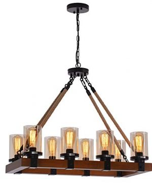 8 Light Farmhouse Chandelier Kitchen Island Light Fixture Wood Chandeliers Candle Pendant Light Glass Lodge And Tavern Pendant Lighting 480W Max Bulb Not Included 0 300x360