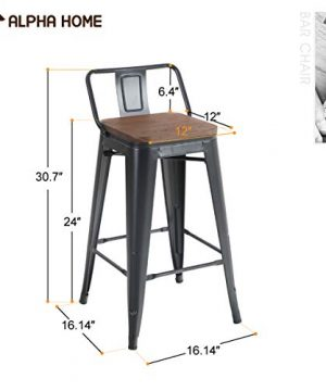 ALPHA HOME 24 Inches Low Back Bar Stools With Wood Seat Metal Indoor Outdoor Dining Chairs Stackable 4 Industrial Kitchen Counter Stool Cafe Side ChairsMatte Balck 0 0 300x360