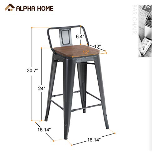 ALPHA HOME 24 Inches Low Back Bar Stools With Wood Seat Metal Indoor Outdoor Dining Chairs Stackable 4 Industrial Kitchen Counter Stool Cafe Side ChairsMatte Balck 0 0