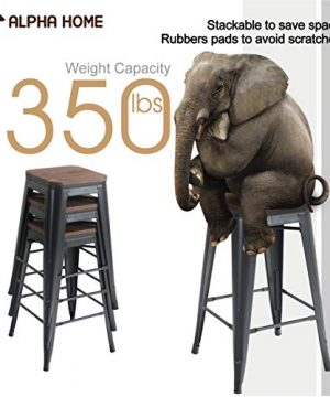 ALPHA HOME 24 Inches Low Back Bar Stools With Wood Seat Metal Indoor Outdoor Dining Chairs Stackable 4 Industrial Kitchen Counter Stool Cafe Side ChairsMatte Balck 0 1 300x360