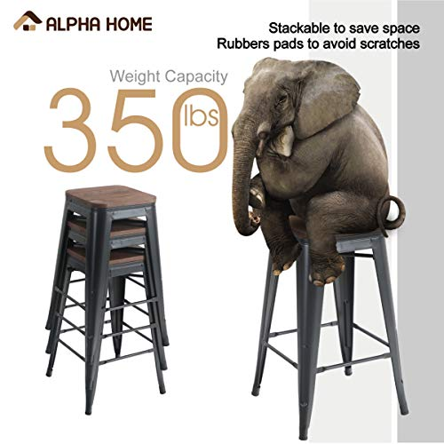 ALPHA HOME 24 Inches Low Back Bar Stools With Wood Seat Metal Indoor Outdoor Dining Chairs Stackable 4 Industrial Kitchen Counter Stool Cafe Side ChairsMatte Balck 0 1