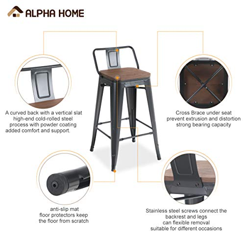 ALPHA HOME 24 Inches Low Back Bar Stools With Wood Seat Metal Indoor Outdoor Dining Chairs Stackable 4 Industrial Kitchen Counter Stool Cafe Side ChairsMatte Balck 0 2