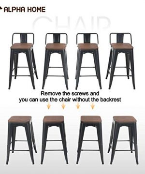 ALPHA HOME 24 Inches Low Back Bar Stools With Wood Seat Metal Indoor Outdoor Dining Chairs Stackable 4 Industrial Kitchen Counter Stool Cafe Side ChairsMatte Balck 0 3 300x360