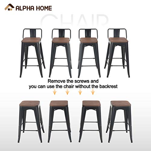 ALPHA HOME 24 Inches Low Back Bar Stools With Wood Seat Metal Indoor Outdoor Dining Chairs Stackable 4 Industrial Kitchen Counter Stool Cafe Side ChairsMatte Balck 0 3