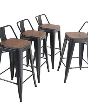 ALPHA HOME 24 Inches Low Back Bar Stools With Wood Seat Metal Indoor Outdoor Dining Chairs Stackable 4 Industrial Kitchen Counter Stool Cafe Side ChairsMatte Balck 0 300x360