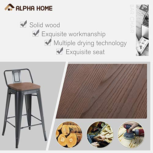 ALPHA HOME 24 Inches Low Back Bar Stools With Wood Seat Metal Indoor Outdoor Dining Chairs Stackable 4 Industrial Kitchen Counter Stool Cafe Side ChairsMatte Balck 0 4