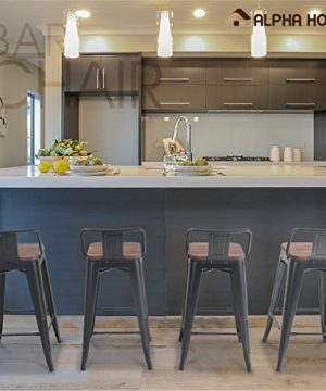 ALPHA HOME 24 Inches Low Back Bar Stools With Wood Seat Metal Indoor Outdoor Dining Chairs Stackable 4 Industrial Kitchen Counter Stool Cafe Side ChairsMatte Balck 0 5 300x360