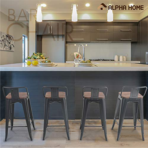 ALPHA HOME 24 Inches Low Back Bar Stools With Wood Seat Metal Indoor Outdoor Dining Chairs Stackable 4 Industrial Kitchen Counter Stool Cafe Side ChairsMatte Balck 0 5