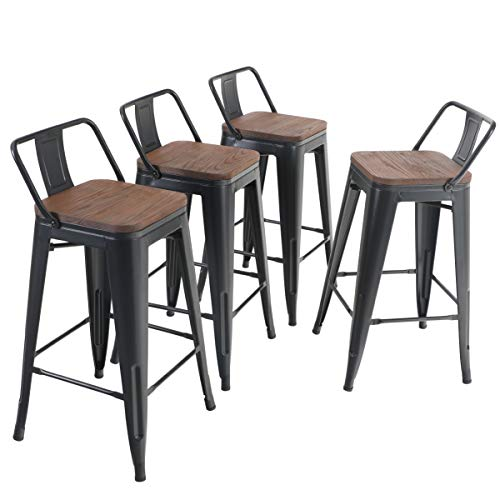 ALPHA HOME 24 Inches Low Back Bar Stools With Wood Seat Metal Indoor Outdoor Dining Chairs Stackable 4 Industrial Kitchen Counter Stool Cafe Side ChairsMatte Balck 0
