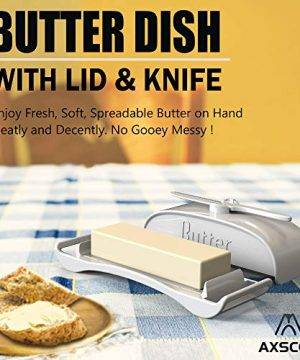 AXSCOK Plastic Butter Dish With Lid And Knife Measurements No Mess Smart Covered Butter Keeper With Handle Spreader For Countertop Ivory White 0 0 300x360