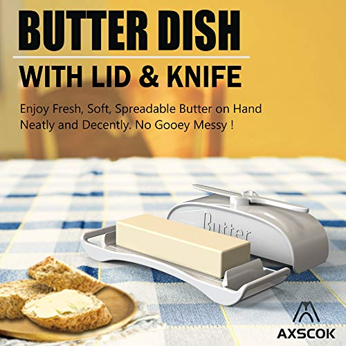 AXSCOK Plastic Butter Dish With Lid And Knife Measurements No Mess Smart Covered Butter Keeper With Handle Spreader For Countertop Ivory White 0 0