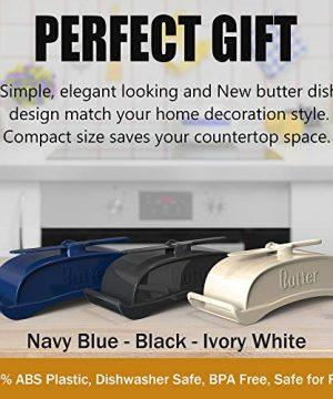 AXSCOK Plastic Butter Dish With Lid And Knife Measurements No Mess Smart Covered Butter Keeper With Handle Spreader For Countertop Ivory White 0 2 300x360