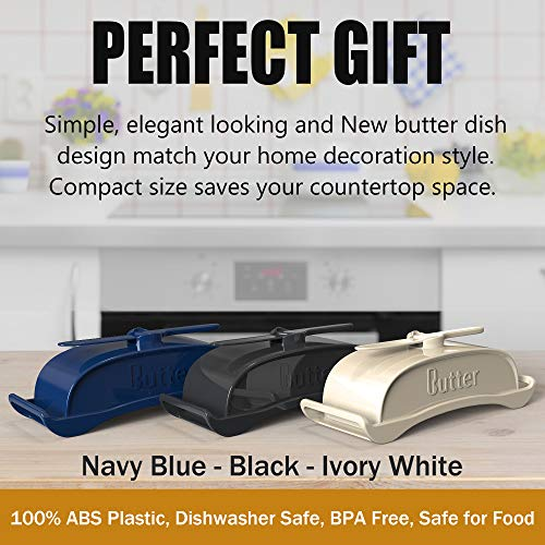 AXSCOK Plastic Butter Dish With Lid And Knife Measurements No Mess Smart Covered Butter Keeper With Handle Spreader For Countertop Ivory White 0 2